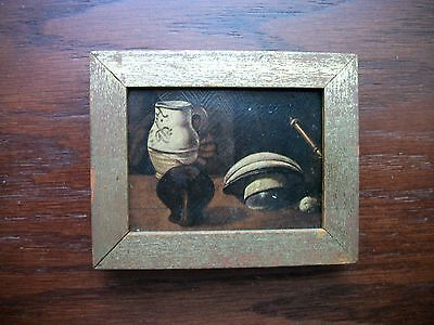 VTG? Miniature Still Life Painting Made in Spain #447 Oil on Board? Gold Tone Fr