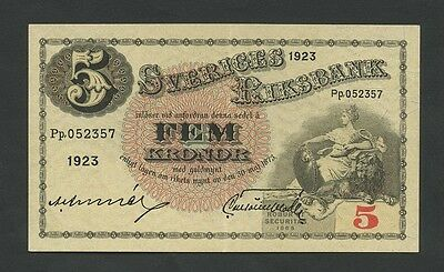 SWEDEN - 5 kronor  1923  P33f  Extremely Fine  ( Banknotes )