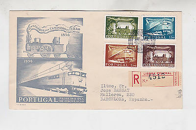 portugal 1956 Sc 818/21 trains .set on FDC      j282