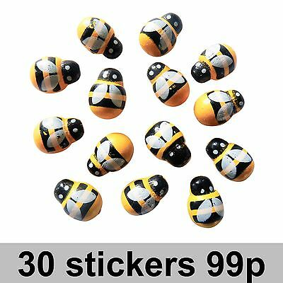 Wooden Bee Bumble Bee Stickers pack of 30 Self Adhesive Craft