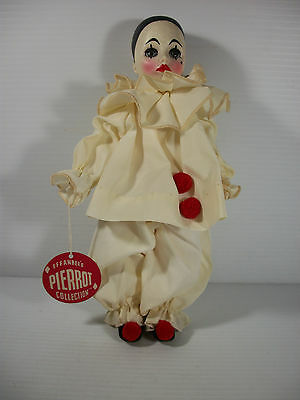 """Effanbee Pierrot Collection 11"""" Vinyl Doll White Costume Red Pom Poms W Tag 1975"""