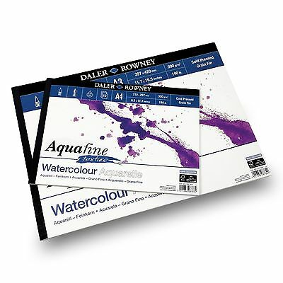 Daler Rowney - Aquafine Textured Pad - 300gsm - 12 Pages - A3/A4 Made in England