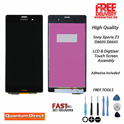 NEW Replacement Sony Xperia Z3 D6603 D6643 Touch Screen Digitiser & LCD - BLACK
