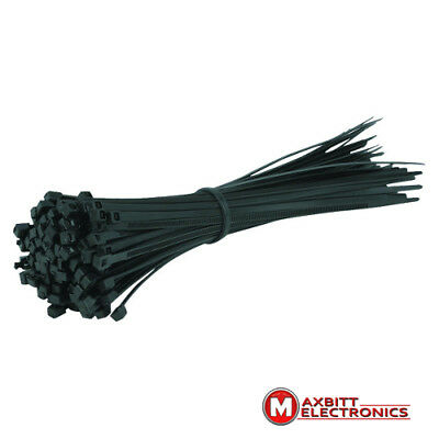 100x CABLE TIES 30cmx3.6mm Nylon Plastic Electrical Zip Tie Wrap Black