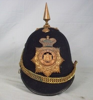 Victorian Devonshire Regiment Home Service Spikehelmet With Brass Mounts