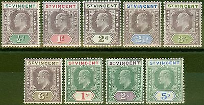 St Vincent 1902 set of 9 SG76-84 Fine Lightly Mtd Mint