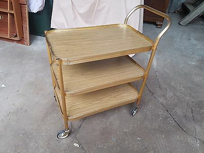 "Retro Vintage Mid Century Gold Anodised ""Sylvan"" 3 Tier Cocktail / Tea Trolley"