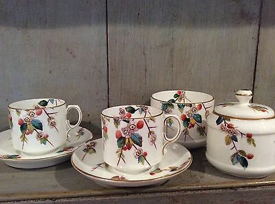 Vintage 'Wild Strawberry' Hand Painted bone china 2 Tea Cups, Saucers and 2 Pots