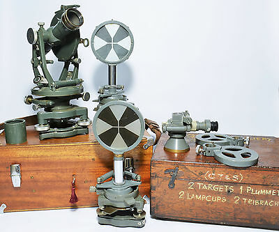 Vintage theodolite, tibrachs and targets. Cased. Ex Ogilvie Colliery, Wales
