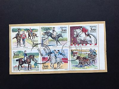 Sweden 1990 Stamps Used On Paper Horses