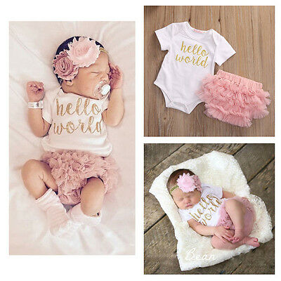 3PCS Newborn Baby Girls Outfit Clothes Romper Jumpsuit Bodysuit+Lace Pants