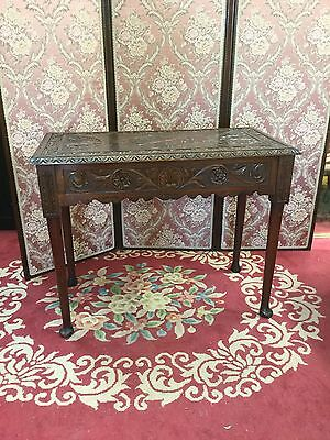Antique Victorian Carved Mahogany Console / Side Table