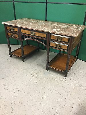 Antique Mahogany Kneehole Style Desk / Dressing Table With Marble Top