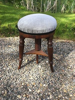 Antique Victorian Mahogany Revolving Piano Stool