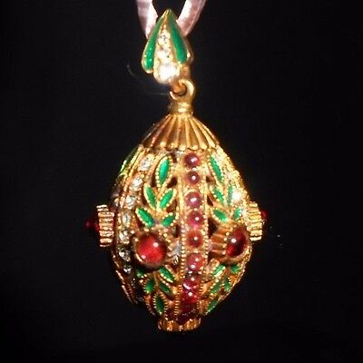 Russian Faberge Egg Pendant Gold Plated Red Green Enamel Cachobon Stone Crystals