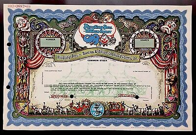 Ringling Bros. Barnum Bailey SPECIMEN Stock Certificate - VERY RARE - END OF ERA
