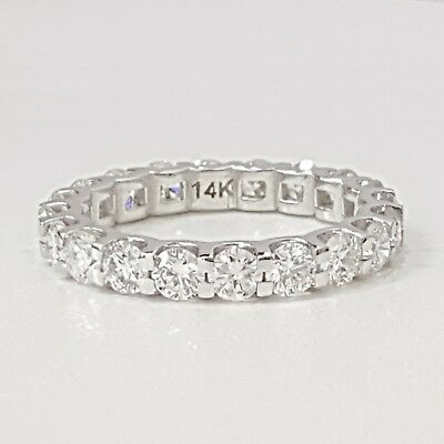 3 CT Round cut 14K WHITE gold anniversary ETERNITY BAND  diamond engagement ring