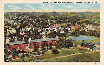 Spencer West Virginia~Birds Eye Panorama From State Hospital Grounds~1940s Linen