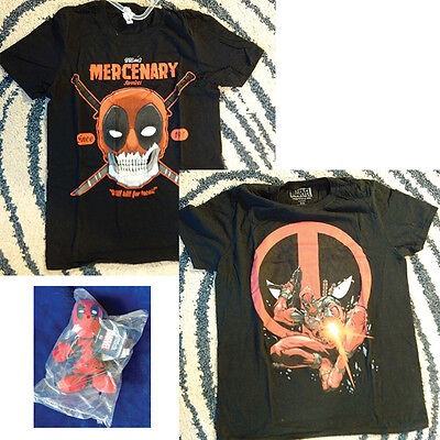 2 DEADPOOL Like New Graphic Shirts PLUS PLUSH DEADPOOL IN BAG! Free Shipping!!