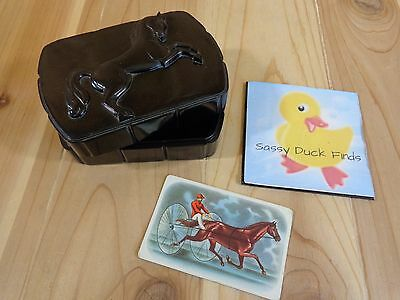 Hickok HORSE TRINKET BOX with One Congress Card Black Plastic Made in USA