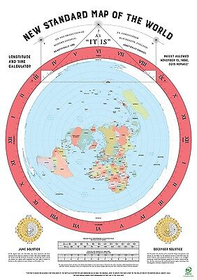 Flat Earth Map (2015 Remake of Gleasons map published in 1892) A0