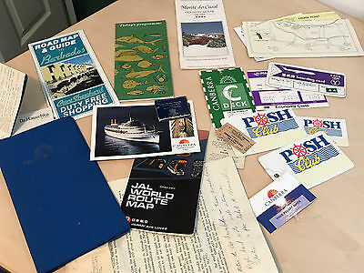 Vintage Travel Ephemera Inc P&O Cruises, Airline Tickets, Labels & Tags Etc.