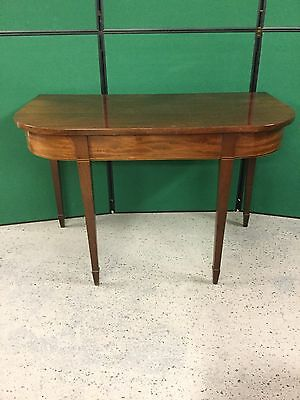 Antique Mahogany D End Console Style Table With Boxwood Inlay