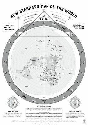 Flat Earth Map (2015 Remake of Gleasons map published in 1892) A0 Black/White
