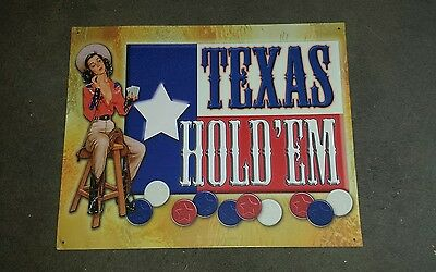 Metal Texas Hold'em Sign