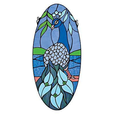 "24"" Vibrant Peacock Cabochons & Hand Crafted Stained Glass Oval Window Panel"