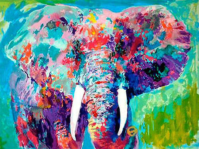 Hand Painted Portrait Oil Painting on Canvas LeRoy Neiman Elephant No Frame 32