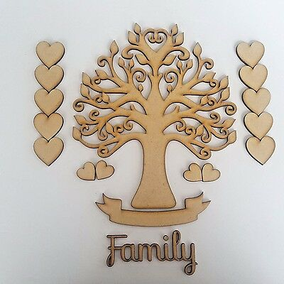MDF Family Tree Set Kit with Tree Hearts, Banner and Word - Wooden Guestbook Art