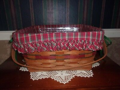 Longaberger 1993 Holiday Hostess Homecoming Basket Set with Carved Lid