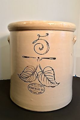 Antique 5 Gal. Elephant Ear~UNION Stoneware~ Red Wing~ Black Writing