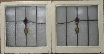 """OLD ENGLISH LEADED STAINED GLASS WINDOW Abstract Geometric PAIR 20.5""""x21.25"""" per"""