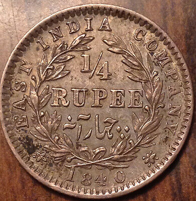 1840 India Silver 1/4 Rupee In Remarkable Condition