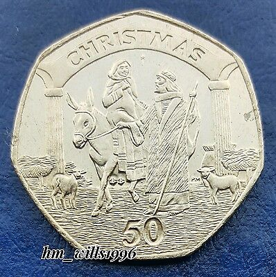 2003 Fifty Pence 50p Mary And Joseph On A Donkey Gibraltar Christmas Coin