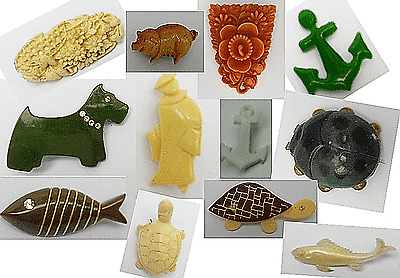 Beautiful Collector Item Lot X 12  Vintage 1950'/60' Early Plastic Pin Brooch