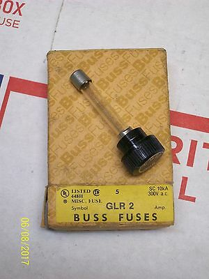 (1) *box Of 5* New Buss Screw In Fuse 2A 2 Amp 300V , Glr-2
