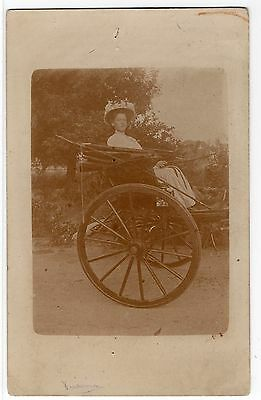 Edwardian Lady In Horse Drawn Cart / Carriage  Old Real Photo Postcard