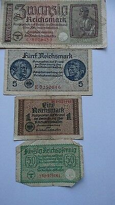 5,  ,20,  1and 50 funfzig Reichsmark notes III Reich Swastika Germany WWII