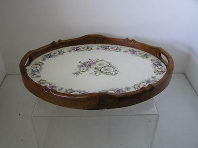 Victorian Floral Violet Pansies Porcelain Carved Wood edge Tray from Germany