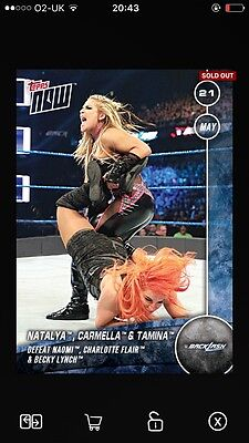 Topps WWE Slam TOPPS NOW Natalya BACKLASH DIGITAL Card