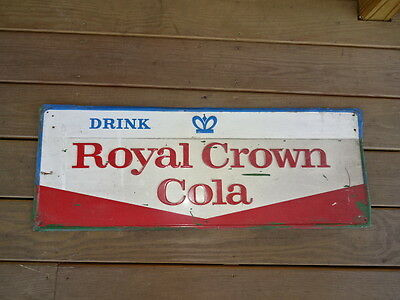Old Vtg Collectible Royal Crown Cola Advertising Sign Drink Red Blue And White