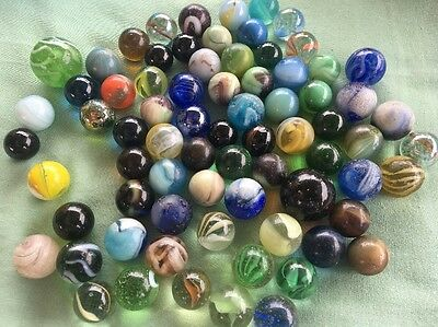 Antique Vintage Early 1940's Glass Marbles Swirly And Bubbly Rare !