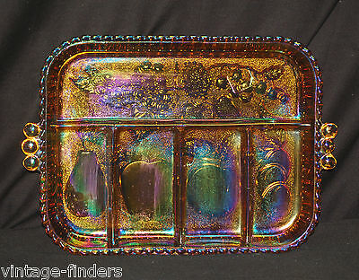 Fruit Tray by Indiana Glass Iridescent Gold Carnival 5 Part Relish Dish w Box