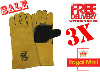 WELDING LEATHER GLOVES 3 Pair SWP Gold size 10/L