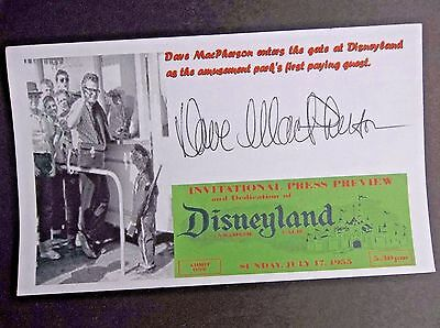 """""""Walt Disney"""" Dave MacPherson """"First Ever Customer"""" Autographed 3x5 Index Card"""