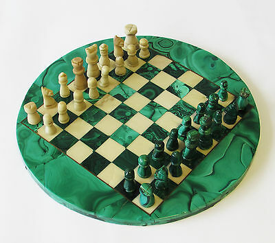 Old Polished Malachite Chess Set ~ Complete African Stone Circular Game Board