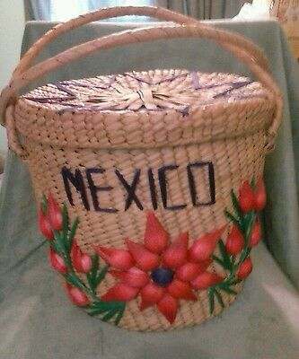 Vintage Mexican Woven Round Grass Basket